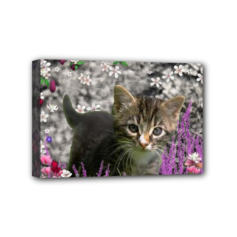 Emma In Flowers I, Little Gray Tabby Kitty Cat Mini Canvas 6  X 4  by DianeClancy