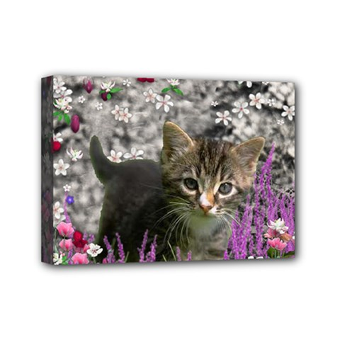 Emma In Flowers I, Little Gray Tabby Kitty Cat Mini Canvas 7  X 5  by DianeClancy