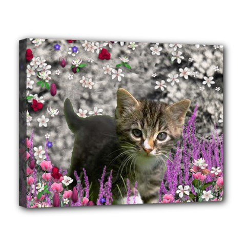 Emma In Flowers I, Little Gray Tabby Kitty Cat Canvas 14  X 11  by DianeClancy