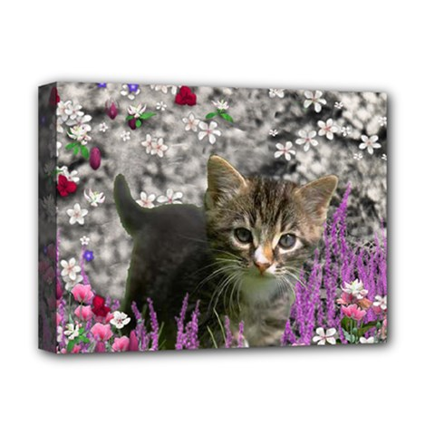 Emma In Flowers I, Little Gray Tabby Kitty Cat Deluxe Canvas 16  X 12   by DianeClancy
