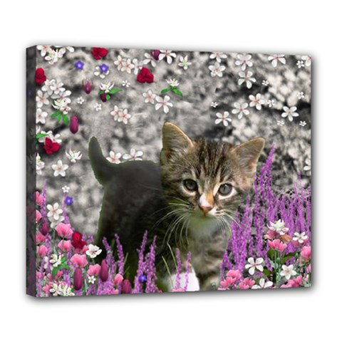 Emma In Flowers I, Little Gray Tabby Kitty Cat Deluxe Canvas 24  X 20   by DianeClancy