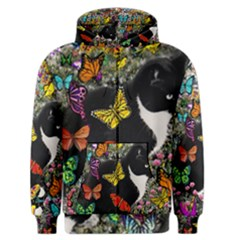 Freckles In Butterflies I, Black White Tux Cat Men s Zipper Hoodie