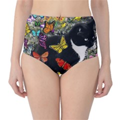 Freckles In Butterflies I, Black White Tux Cat High-waist Bikini Bottoms by DianeClancy
