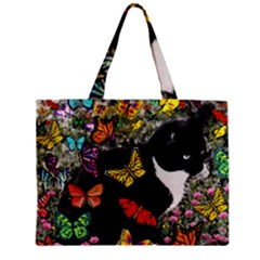 Freckles In Butterflies I, Black White Tux Cat Mini Tote Bag by DianeClancy