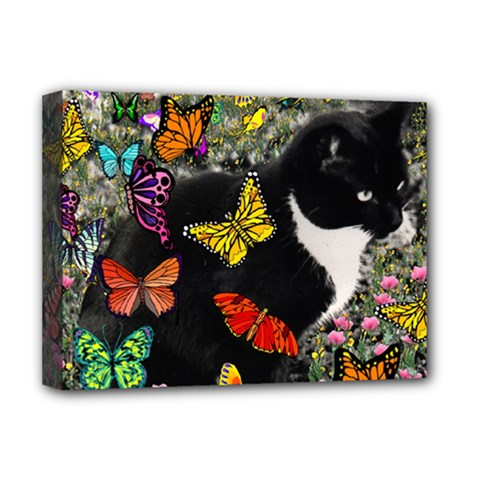 Freckles In Butterflies I, Black White Tux Cat Deluxe Canvas 16  X 12   by DianeClancy