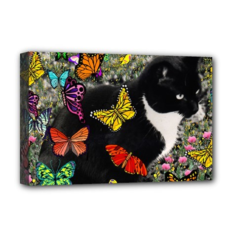 Freckles In Butterflies I, Black White Tux Cat Deluxe Canvas 18  X 12   by DianeClancy