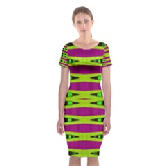 Green Pink Geometric Abstract Classic Short Sleeve Midi Dress