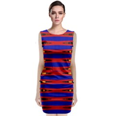 Bright Blue Red Yellow Mod Abstract Classic Sleeveless Midi Dress
