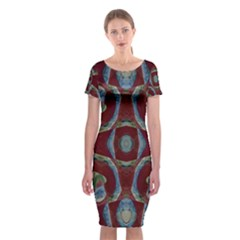 Fancy Maroon Blue Design Classic Short Sleeve Midi Dress by BrightVibesDesign