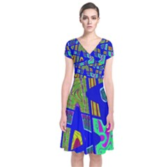 Bright Blue Mod Pop Art  Wrap Dress by BrightVibesDesign