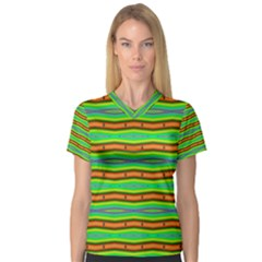 Bright Green Orange Lines Stripes Women s V Neck Sport Mesh Tee by BrightVibesDesign