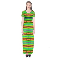 Bright Green Orange Lines Stripes Short Sleeve Maxi Dress by BrightVibesDesign