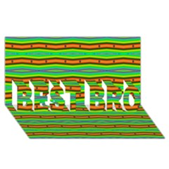 Bright Green Orange Lines Stripes Best Bro 3d Greeting Card (8x4)  by BrightVibesDesign
