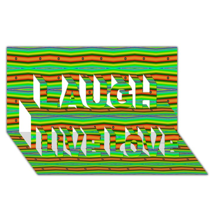 Bright Green Orange Lines Stripes Laugh Live Love 3D Greeting Card (8x4)