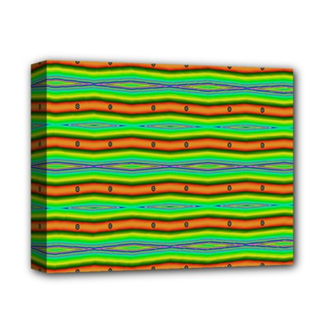 Bright Green Orange Lines Stripes Deluxe Canvas 14  X 11  by BrightVibesDesign