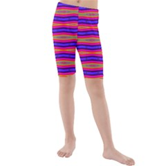 Bright Pink Purple Lines Stripes Kid s Mid Length Swim Shorts by BrightVibesDesign