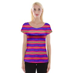 Bright Pink Purple Lines Stripes Women s Cap Sleeve Top