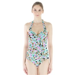 Colorful Dotted Abstract Women s Halter One Piece Swimsuit
