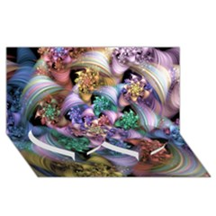 Bright Taffy Spiral Twin Heart Bottom 3d Greeting Card (8x4)  by WolfepawFractals
