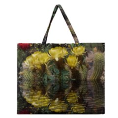 Cactus Flowers With Reflection Pool Zipper Large Tote Bag by MichaelMoriartyPhotography