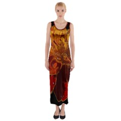 Marigold On Black Fitted Maxi Dress