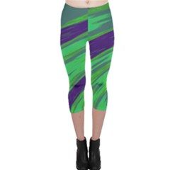 Swish Green Blue Capri Leggings  by BrightVibesDesign