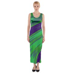 Swish Green Blue Fitted Maxi Dress by BrightVibesDesign