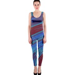 Swish Blue Red Abstract Onepiece Catsuit by BrightVibesDesign