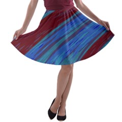 Swish Blue Red Abstract A-line Skater Skirt