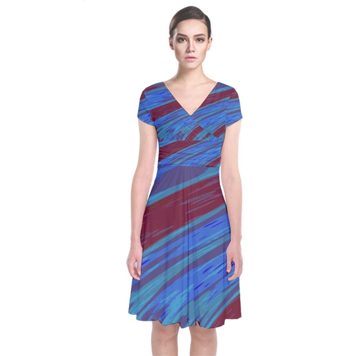 Swish Blue Red Abstract Short Sleeve Front Wrap Dress Cowcow