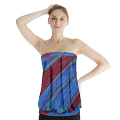 Swish Blue Red Abstract Strapless Top