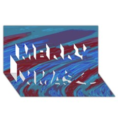 Swish Blue Red Abstract Merry Xmas 3d Greeting Card (8x4)  by BrightVibesDesign