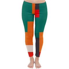 Rectangles And Squares  In Retro Colors                                                                   Winter Leggings by LalyLauraFLM