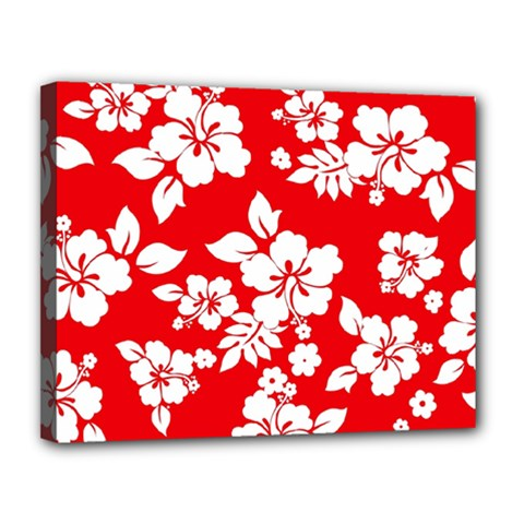 Red Hawaiian Canvas 14  X 11  by AlohaStore