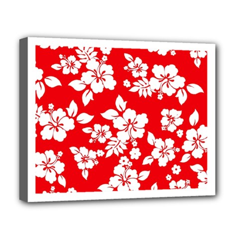 Red Hawaiian Deluxe Canvas 20  X 16   by AlohaStore