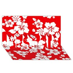 Red Hawaiian Best Sis 3d Greeting Card (8x4)  by AlohaStore