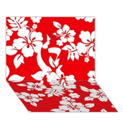 Red Hawaiian Ribbon 3d Greeting Card (7x5)  by AlohaStore