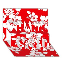 Red Hawaiian Thank You 3d Greeting Card (7x5)  by AlohaStore