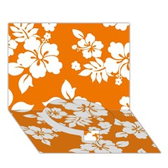 Orange Hawaiian Circle Bottom 3d Greeting Card (7x5)  by AlohaStore