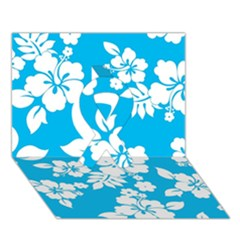 Light Blue Hawaiian Ribbon 3d Greeting Card (7x5)  by AlohaStore