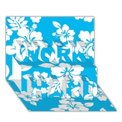 Light Blue Hawaiian Work Hard 3d Greeting Card (7x5)  by AlohaStore