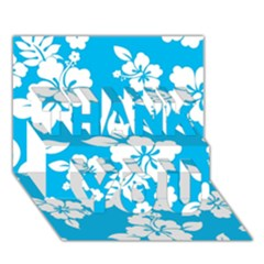 Light Blue Hawaiian Thank You 3d Greeting Card (7x5)  by AlohaStore