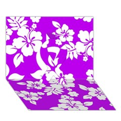 Purple Hawaiian Ribbon 3d Greeting Card (7x5)  by AlohaStore