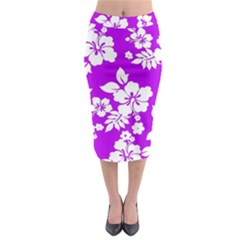 Purple Hawaiian Midi Pencil Skirt