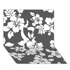 Gray Hawaiian Ribbon 3d Greeting Card (7x5)  by AlohaStore