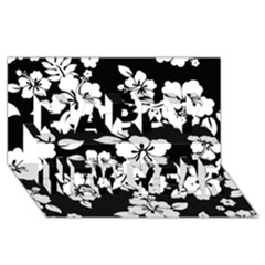 Black And White Hawaiian Happy New Year 3d Greeting Card (8x4)  by AlohaStore