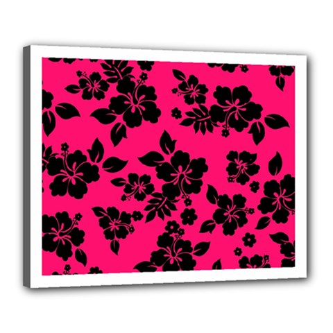 Dark Pink Hawaiian Canvas 20  X 16  by AlohaStore