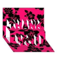 Dark Pink Hawaiian Thank You 3d Greeting Card (7x5)  by AlohaStore