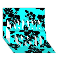 Blue Dark Hawaiian Thank You 3d Greeting Card (7x5)  by AlohaStore