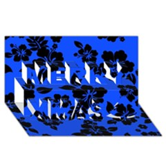 Dark Blue Hawaiian Merry Xmas 3d Greeting Card (8x4)  by AlohaStore